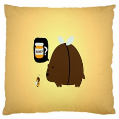 Bear Meet Bee Honey Animals Yellow Brown Standard Flano Cushion Case (one Side)