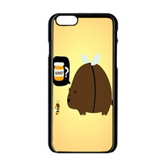 Bear Meet Bee Honey Animals Yellow Brown Apple Iphone 6/6s Black Enamel Case