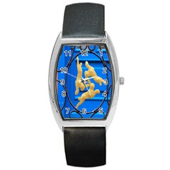 Animal Hare Window Gold Barrel Style Metal Watch