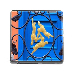 Animal Hare Window Gold Memory Card Reader (square) by Nexatart