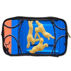 Animal Hare Window Gold Toiletries Bags by Nexatart