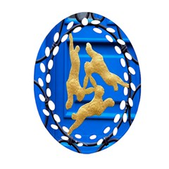 Animal Hare Window Gold Ornament (oval Filigree)