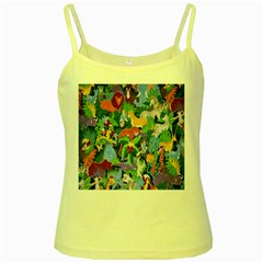Animated Safari Animals Background Yellow Spaghetti Tank