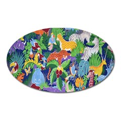 Animated Safari Animals Background Oval Magnet