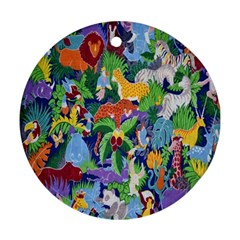 Animated Safari Animals Background Round Ornament (two Sides)
