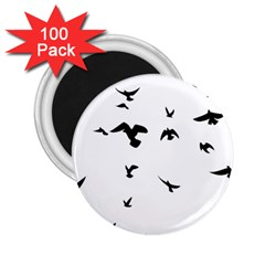Bird Fly Black 2 25  Magnets (100 Pack)  by Alisyart