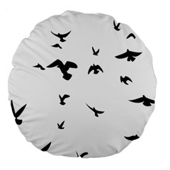 Bird Fly Black Large 18  Premium Round Cushions by Alisyart