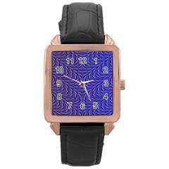 Calm Wave Blue Flag Rose Gold Leather Watch