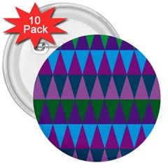 Blue Greens Aqua Purple Green Blue Plums Long Triangle Geometric Tribal 3  Buttons (10 Pack)  by Alisyart