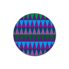Blue Greens Aqua Purple Green Blue Plums Long Triangle Geometric Tribal Rubber Coaster (round)  by Alisyart