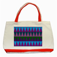 Blue Greens Aqua Purple Green Blue Plums Long Triangle Geometric Tribal Classic Tote Bag (red) by Alisyart