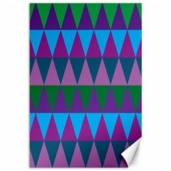 Blue Greens Aqua Purple Green Blue Plums Long Triangle Geometric Tribal Canvas 12  X 18   by Alisyart