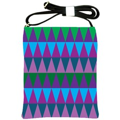 Blue Greens Aqua Purple Green Blue Plums Long Triangle Geometric Tribal Shoulder Sling Bags by Alisyart