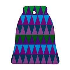 Blue Greens Aqua Purple Green Blue Plums Long Triangle Geometric Tribal Bell Ornament (two Sides) by Alisyart