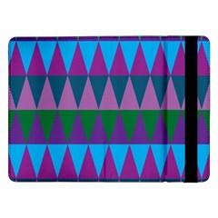 Blue Greens Aqua Purple Green Blue Plums Long Triangle Geometric Tribal Samsung Galaxy Tab Pro 12 2  Flip Case