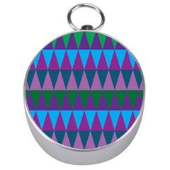 Blue Greens Aqua Purple Green Blue Plums Long Triangle Geometric Tribal Silver Compasses by Alisyart