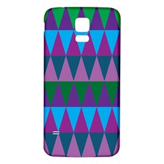 Blue Greens Aqua Purple Green Blue Plums Long Triangle Geometric Tribal Samsung Galaxy S5 Back Case (white)