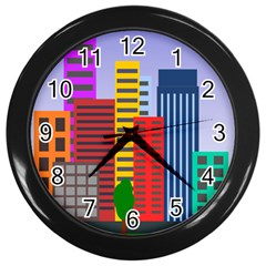 City Skyscraper Buildings Color Car Orange Yellow Blue Green Brown Wall Clocks (black) by Alisyart