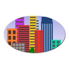 City Skyscraper Buildings Color Car Orange Yellow Blue Green Brown Oval Magnet by Alisyart
