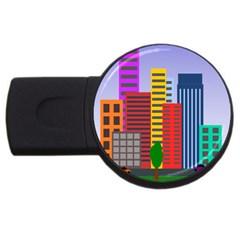 City Skyscraper Buildings Color Car Orange Yellow Blue Green Brown Usb Flash Drive Round (2 Gb) by Alisyart