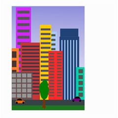City Skyscraper Buildings Color Car Orange Yellow Blue Green Brown Large Garden Flag (two Sides) by Alisyart