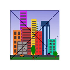 City Skyscraper Buildings Color Car Orange Yellow Blue Green Brown Acrylic Tangram Puzzle (4  X 4 ) by Alisyart