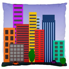 City Skyscraper Buildings Color Car Orange Yellow Blue Green Brown Large Cushion Case (two Sides) by Alisyart