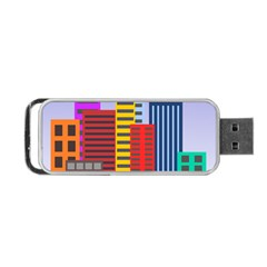 City Skyscraper Buildings Color Car Orange Yellow Blue Green Brown Portable Usb Flash (one Side) by Alisyart