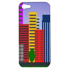 City Skyscraper Buildings Color Car Orange Yellow Blue Green Brown Apple Iphone 5 Hardshell Case by Alisyart