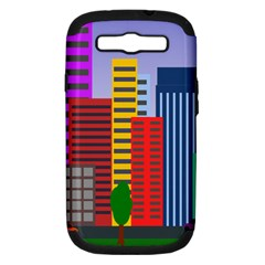 City Skyscraper Buildings Color Car Orange Yellow Blue Green Brown Samsung Galaxy S Iii Hardshell Case (pc+silicone)