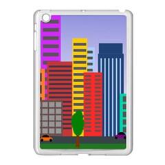 City Skyscraper Buildings Color Car Orange Yellow Blue Green Brown Apple Ipad Mini Case (white) by Alisyart