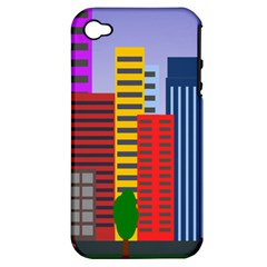 City Skyscraper Buildings Color Car Orange Yellow Blue Green Brown Apple Iphone 4/4s Hardshell Case (pc+silicone)