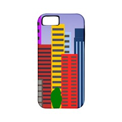 City Skyscraper Buildings Color Car Orange Yellow Blue Green Brown Apple Iphone 5 Classic Hardshell Case (pc+silicone)