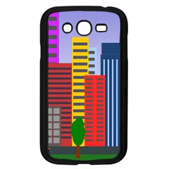 City Skyscraper Buildings Color Car Orange Yellow Blue Green Brown Samsung Galaxy Grand Duos I9082 Case (black)