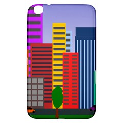 City Skyscraper Buildings Color Car Orange Yellow Blue Green Brown Samsung Galaxy Tab 3 (8 ) T3100 Hardshell Case  by Alisyart
