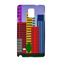 City Skyscraper Buildings Color Car Orange Yellow Blue Green Brown Samsung Galaxy Note 4 Hardshell Case by Alisyart