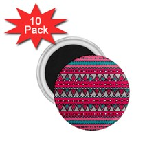 Aztec Geometric Red Chevron Wove Fabric 1 75  Magnets (10 Pack)  by Alisyart