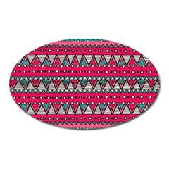 Aztec Geometric Red Chevron Wove Fabric Oval Magnet by Alisyart