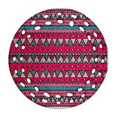 Aztec Geometric Red Chevron Wove Fabric Round Filigree Ornament (two Sides) by Alisyart