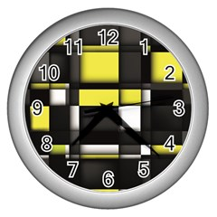 Color Geometry Shapes Plaid Yellow Black Wall Clocks (silver)  by Alisyart