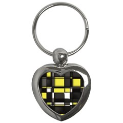 Color Geometry Shapes Plaid Yellow Black Key Chains (heart)  by Alisyart