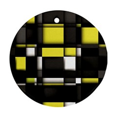 Color Geometry Shapes Plaid Yellow Black Round Ornament (two Sides) by Alisyart