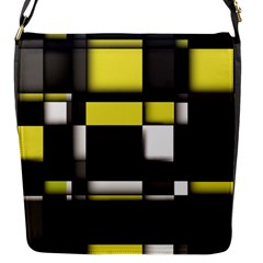 Color Geometry Shapes Plaid Yellow Black Flap Messenger Bag (s) by Alisyart