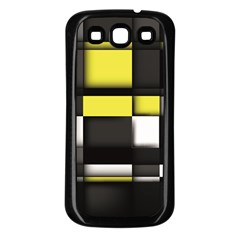 Color Geometry Shapes Plaid Yellow Black Samsung Galaxy S3 Back Case (black) by Alisyart