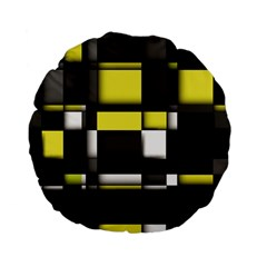 Color Geometry Shapes Plaid Yellow Black Standard 15  Premium Flano Round Cushions