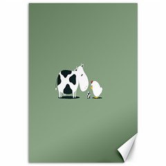 Cow Chicken Eggs Breeding Mixing Dominance Grey Animals Canvas 12  X 18