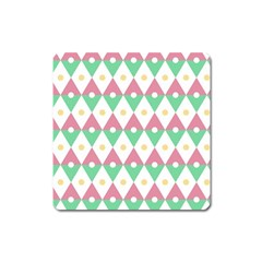 Diamond Green Circle Yellow Chevron Wave Square Magnet by Alisyart