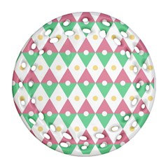 Diamond Green Circle Yellow Chevron Wave Ornament (round Filigree) by Alisyart