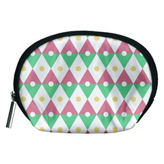 Diamond Green Circle Yellow Chevron Wave Accessory Pouches (medium)  by Alisyart