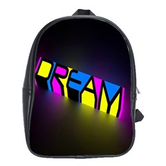 Dream Colors Neon Bright Words Letters Motivational Inspiration Text Statement School Bags(large)